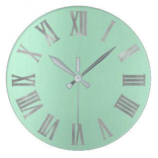 Mint Green Gray Pastel Metallic Roman Numers Large Clock
