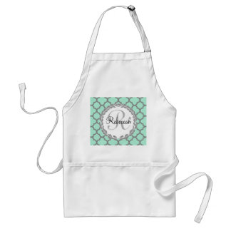Mint Green Gray Quatrefoil Name Monogram Adult Apron