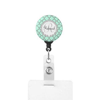 Mint Green Gray Quatrefoil Name Monogrammed Laurel Badge Holder