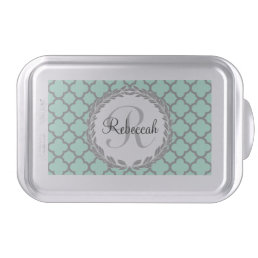 Mint Green Gray Quatrefoil Name Monogrammed Laurel Cake Pan