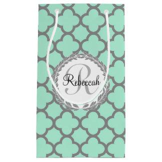 Mint Green Gray Quatrefoil Name Monogrammed Laurel Small Gift Bag
