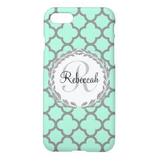 Mint Green Gray Quatrefoil Name Monogrammed Laurel iPhone 7 Case