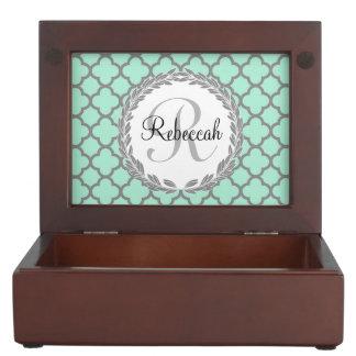 Mint Green Gray Quatrefoil Name Monogrammed Laurel Memory Box