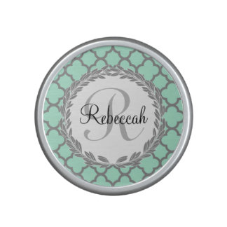 Mint Green Gray Quatrefoil Name Monogrammed Laurel Speaker