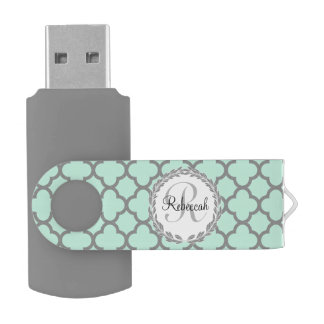 Mint Green Gray Quatrefoil Name Monogrammed Laurel Swivel USB 2.0 Flash Drive
