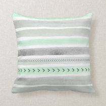 Mint Green Gray Watercolour Stripes Arrows Pattern Throw Pillow