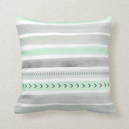Mint Green Gray Watercolour Stripes Arrows Pattern Throw Pillow