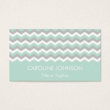 Professional Business Mint Green Gray White Chevron Zigzag Stripes Business Card
