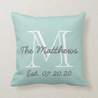 Mint Green Gray White Family Monogram Throw Pillow