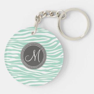 Mint Green & Gray Zebra Monogram Pattern Double-Sided Round Acrylic Keychain