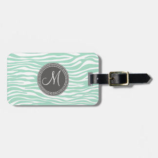 Mint Green & Gray Zebra Monogram Pattern Luggage Tag