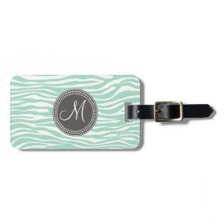 Mint Green & Gray Zebra Monogram Pattern Luggage Tag