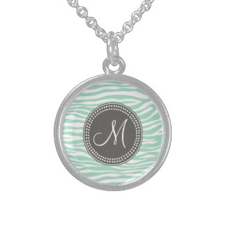 Mint Green & Gray Zebra Monogram Pattern Custom Necklace