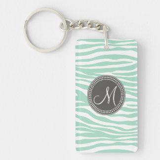 Mint Green & Gray Zebra Monogram Pattern Single-Sided Rectangular Acrylic Keychain