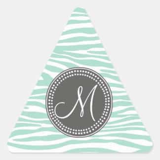 Mint Green & Gray Zebra Monogram Pattern Triangle Sticker