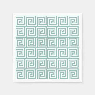 Mint Green Greek Key Pattern Napkin