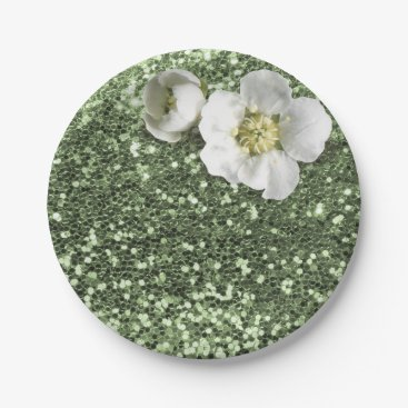 Beach Themed Mint Green Greenery White Jasmine Glitter Paper Plate