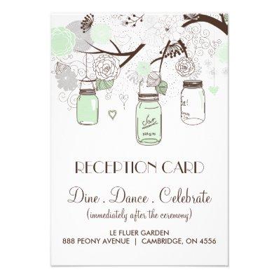 Mint Green & Grey Floral Mason Jars Reception Card