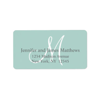 Mint Green, Grey Monogram for Weddings Label