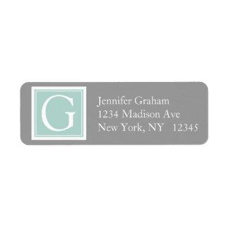 Mint Green Grey Simple Modern Monogram Label