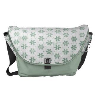 Mint Green Grunge Flower Pattern Messenger Bag
