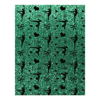 Mint green gymnastics glitter pattern personalized flyer