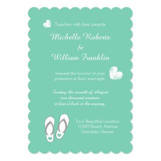 Mint Green Heart Beach Slipper Wedding Invitations