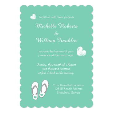 Beach Themed Mint green heart beach slipper wedding invitations