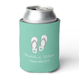 Mint green heart beach slippers wedding can cooler