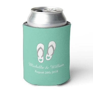 Beach Themed Mint green heart beach slippers wedding can cooler