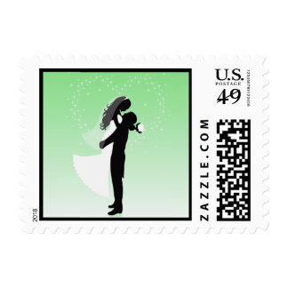 Mint Green Heart Bride And Groom Silhouette Stamp