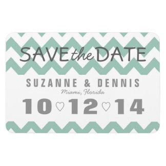 Mint Green Heart & Chevron Save the Date Rectangular Photo Magnet