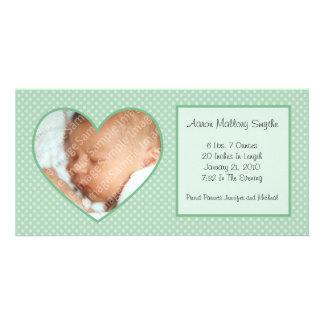 Mint Green Heart Dots New Baby Photo Card