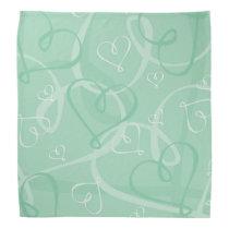 Mint green heart pattern bandana