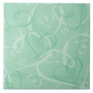 Mint green heart pattern ceramic tile