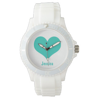 Mint Green Heart - Personalized Name Watch