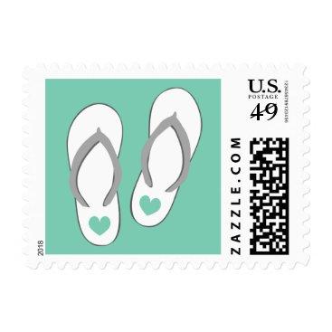 Beach Themed Mint green heart slippers beach wedding stamps