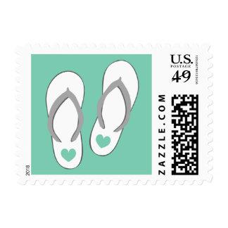 Mint green heart slippers beach wedding stamps