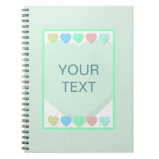 Mint Green Hearts Baby Shower Notebook