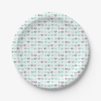 Mint green hearts Valentine's Day or Baby shower Paper Plate