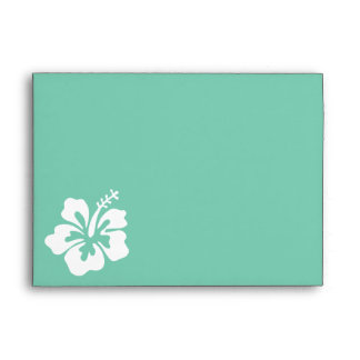 Mint Green Hibiscus Flower Envelope