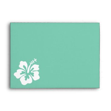 Beach Themed Mint Green Hibiscus Flower Envelope