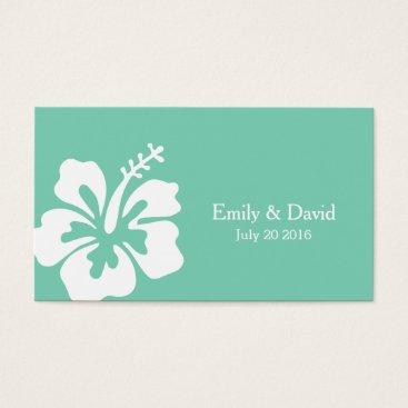 Beach Themed Mint Green Hibiscus Flower Wedding Website Insert