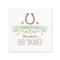Mint Green Horseshoe Western Baby Shower Napkin