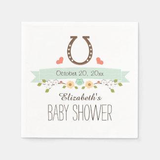 Mint Green Horseshoe Western Baby Shower Standard Cocktail Napkin