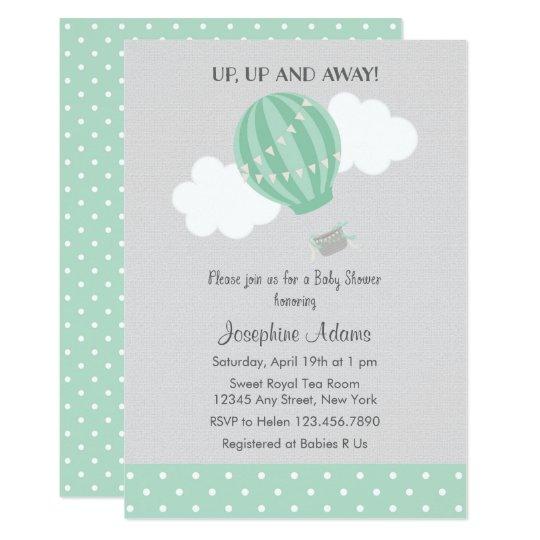Mint Green Hot Air Balloon Baby Shower Invitation Zazzle