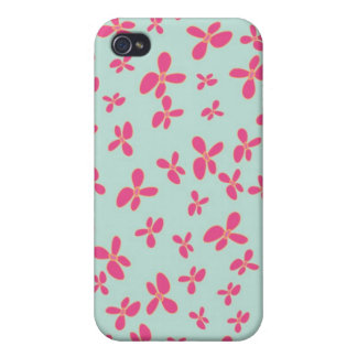 Mint Green Hot Pink Flower Pattern iPhone 4/4S Cases