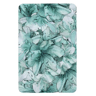 Mint Green Illustrated Flower Floral Pattern Rectangular Photo Magnet