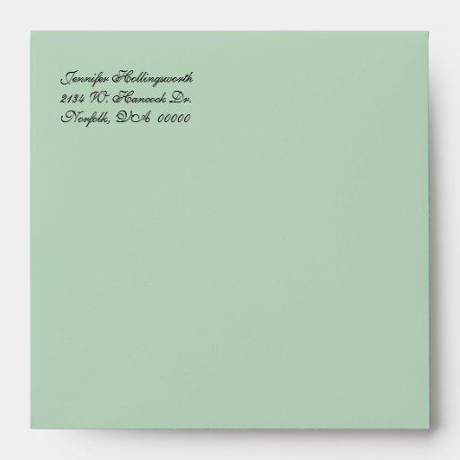 Mint Green & Ivory Damask Wedding Envelope