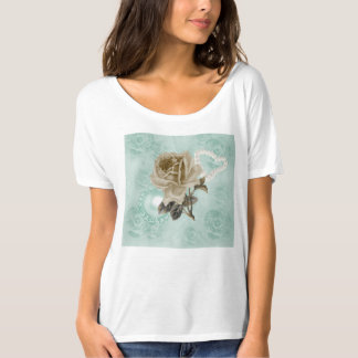 Mint Green Ivory Roses Bella Flowy T-Shirt
